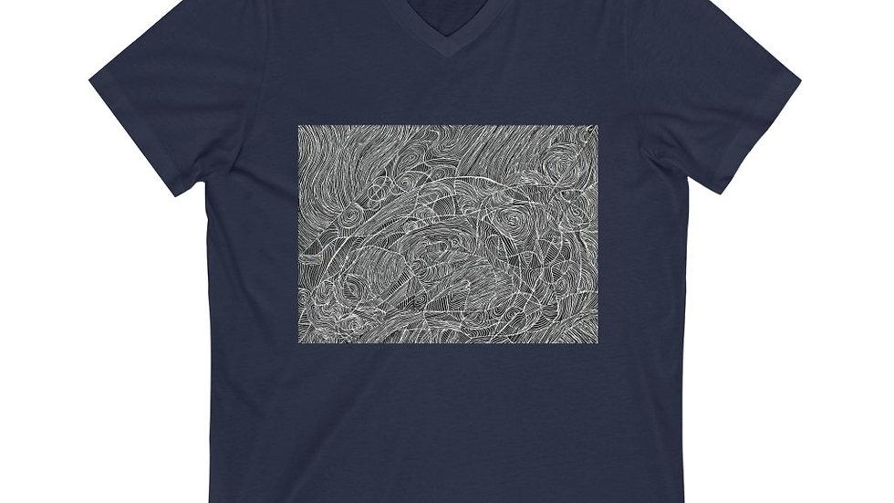 line doodle - Unisex Jersey Short Sleeve V-Neck Tee