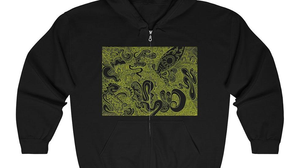 yellow line doodle - Unisex Heavy Blend™ Full Zip Hooded Sweatshirt
