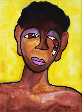 portrait on yellow (black youth) (2019)