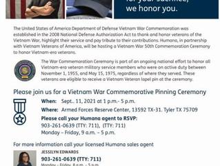 Vietnam War Commemorative Pinning Ceremony - 11 Sep 2021 1:00 pm - 5:00 pm