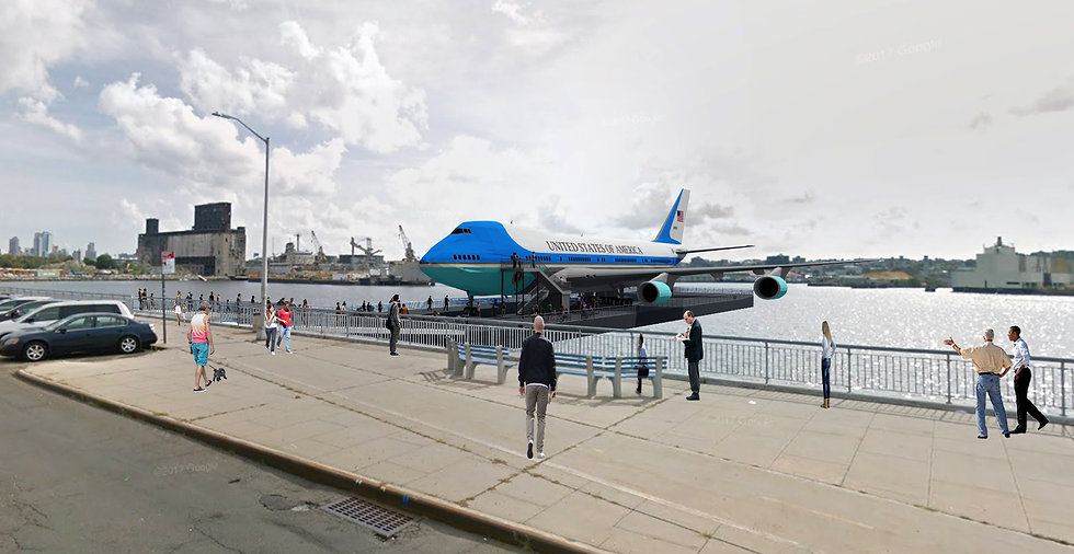 Air Force One on Water with people Cropp