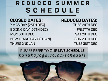 Reduced Summer Holiday Schedule