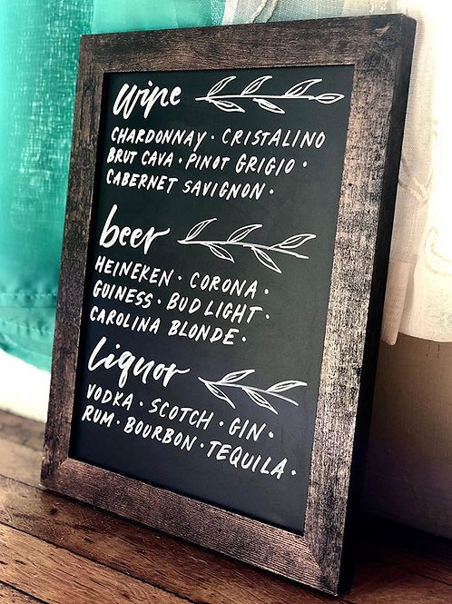 Bar Chalk Sign