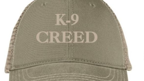 K9 Creed trucker hat olive