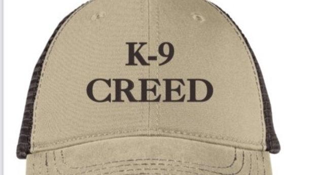 K9 Creed trucker hat brown