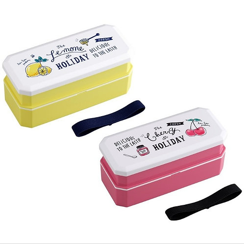 OSK Holiday Bento Double Layers Rectangle with Chopsticks