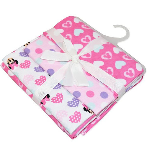 Disney Mickey 3 Pack Cotton Flannel Wraps (Pink)