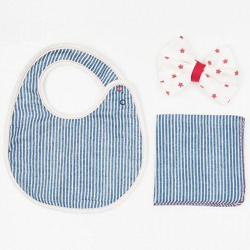Cocowalk Baby Gift Box 04 Stripe & Star (1 Bib + 2 Handkerchief)