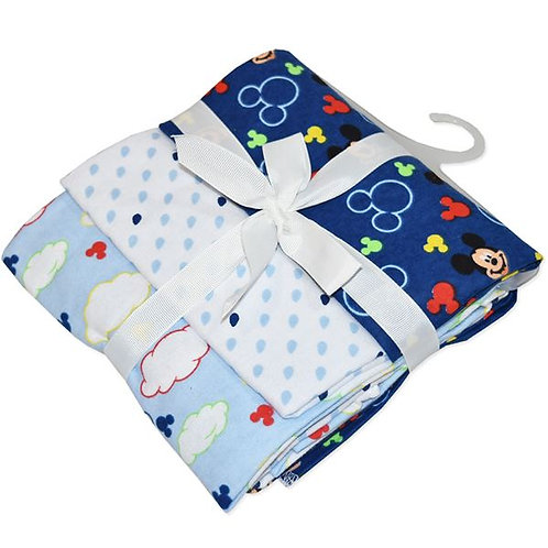 Disney Mickey 3 Pack Cotton Flannel Wraps (Blue)
