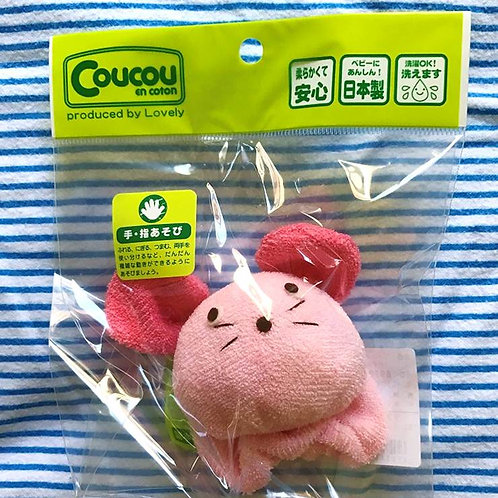 CouCou Cotton Baby Toy Rattle Pink Rabbit