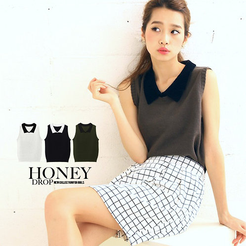 HONEYDROP Sleeveless Knitted Sweater with Collar