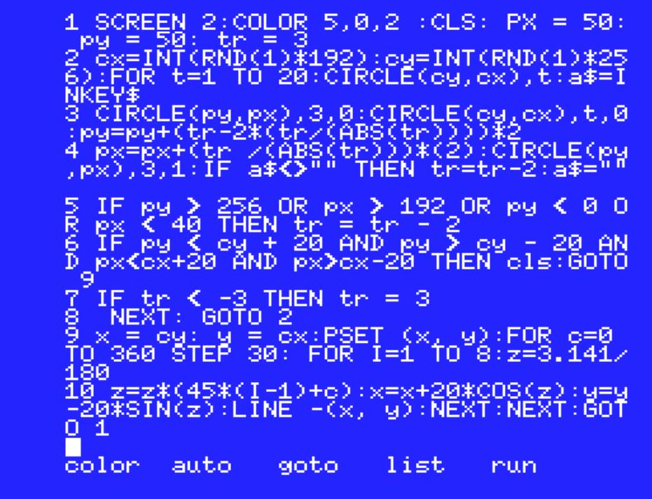 MSX basic code for the game