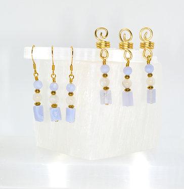 Sacred Waters Earring & Loc Charm Set