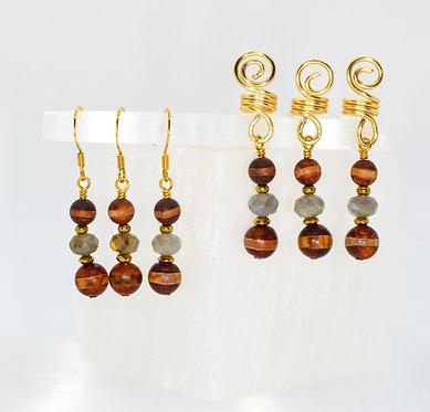 Balancing Magician Earring & Loc Charm Set