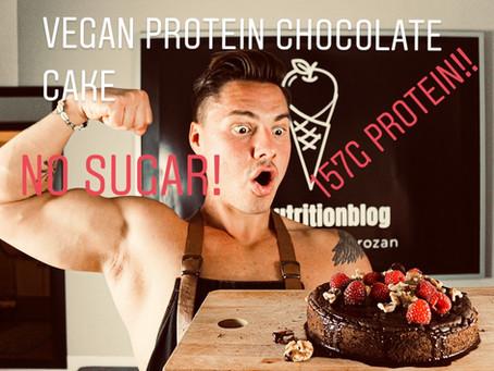 Veganer Schokokuchen - 157g Protein! No Sugar!