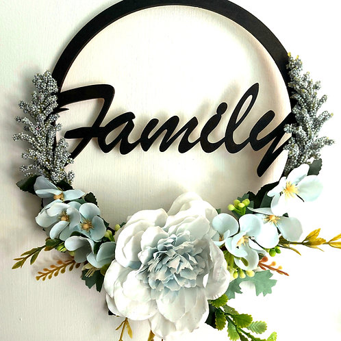 Light Blue Flower Family Wreath