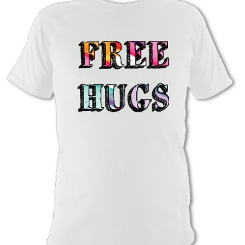 """White """"Free Hugs"""" Tee Shirt"""