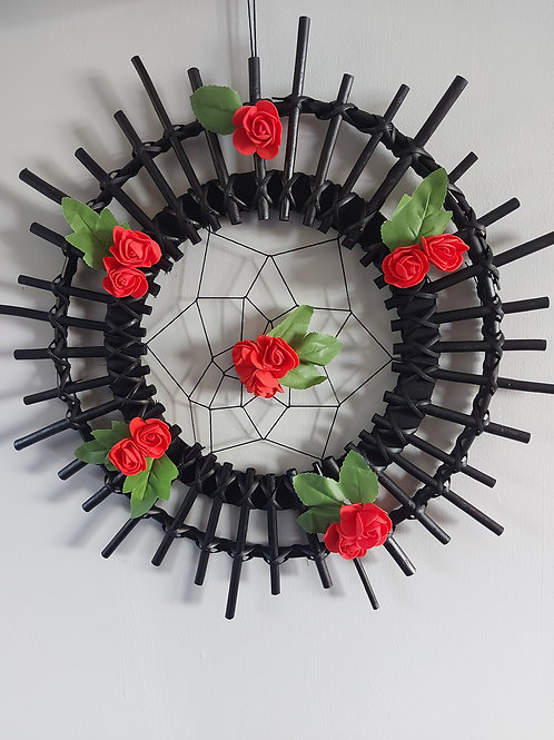 Black spike and red rose dreamcatcher