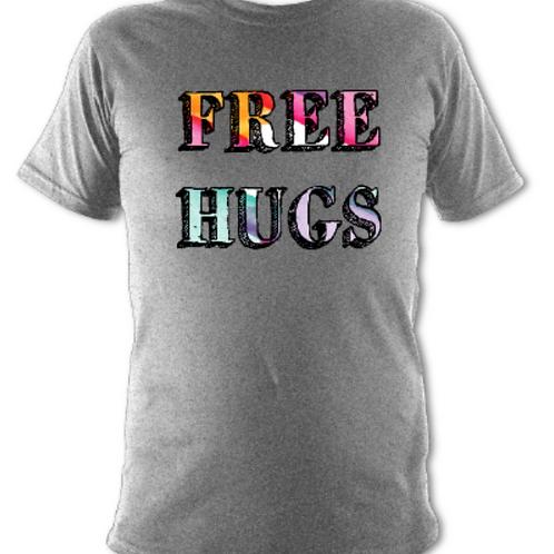"Light Grey ""Free Hugs"" Tee Shirt"