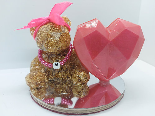 """Molly"" Teddy and Heart Ornament"