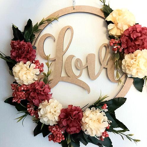 Farmhouse Burgundy and Cream Love Wreath