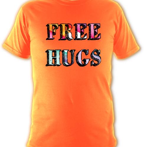 "Bright Orange ""Free Hugs"" Tee Shirt"