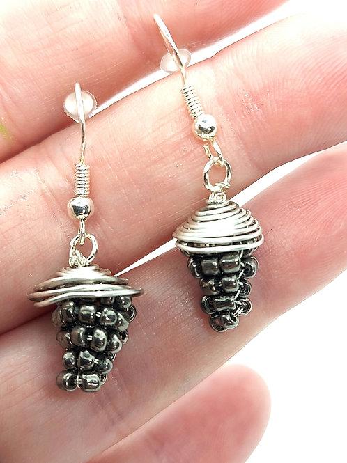 Silver capped beaded acorn earrings