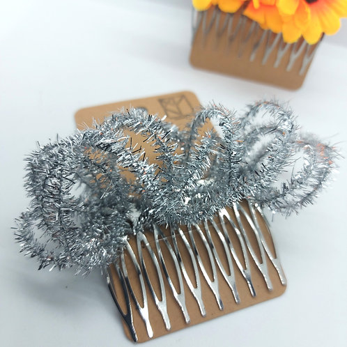 Silver Tinsel Wire Hair Comb