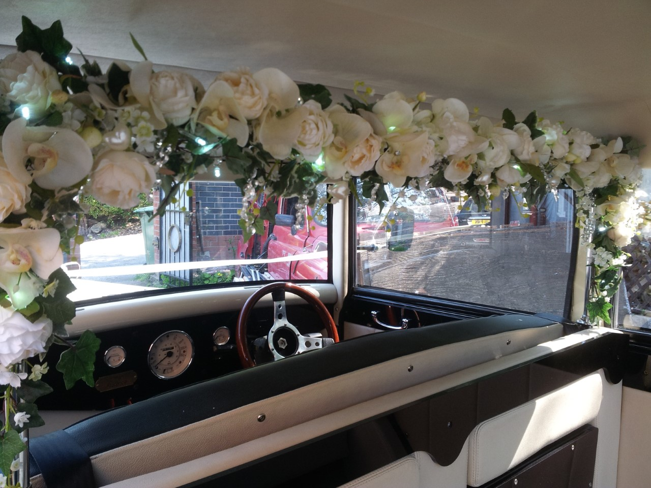 Interior of wedding car, shropshire