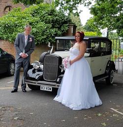 Cute wedding car hire.