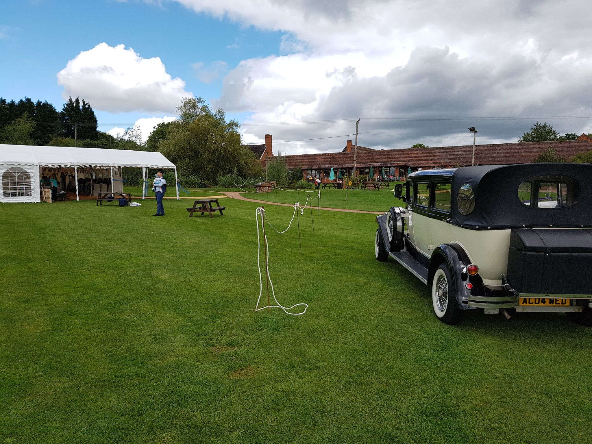 Marquee wedding car transport
