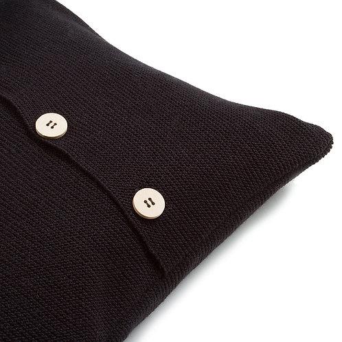 Подушка вязаная з пуговицами цвет Чорный