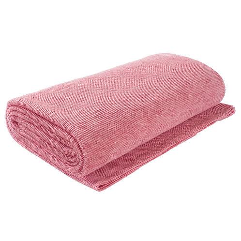 Плед вязаный 220*250 цвет Розовая пудра