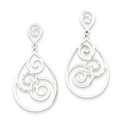 earrings, fancy earrings, silver, sterling silver, post earrings, dangle earrings, swirl,