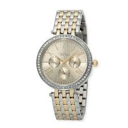 Two tone caravelle, ladies caravelle watch, watch, stone bezel, boyfriend watch, links, metal band