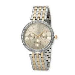 Two tone caravelle, ladies caravelle watch, watch, stone bezel, boyfriend watch, links, metal band