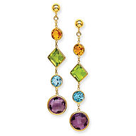 colored stone earrings, colored stones, citrine, peridot, blue topaz, amethyst, dangle earrings, semi precious stones,