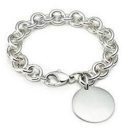 silver engraveable disk bracelet, silver bracelet,