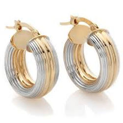 14k gold hoop earrings, two tone gold earrings, yellow gold, white gold, hoops, gold earrings, hoop earrings,