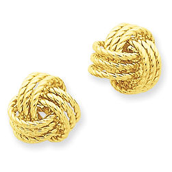 gold earrings, post earrings, love knots, 14k gold earrings,