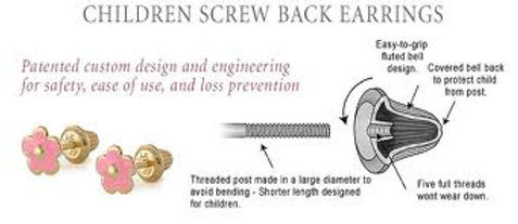 childrens earrings, screw backs, ease of use, loss prevention, shorter post, baby earrings,