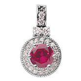 ruby and diamond pendant, ruby, diamond, pendant, white gold, slide, red stone, red, birthstone, july, precious stone, colored stone jewelry