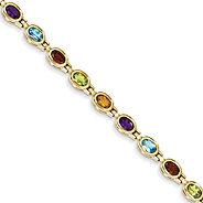 colored stone bracelet, semi precious stones, blue topaz, garnet, peridot, citrine, amethyst,
