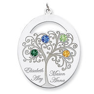 Family jewelry, mother's pendant, family, childrens names, birthstones, family tree