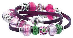 zable, beads, wrap bracelet, leather, magnetic catch, interchangeable beads, Murano glass, crystal