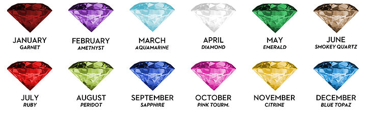january, garnet, february, amethyst, march, aquamarine, april, diamond, may, emerald, june, pearl, smokey quartz, july, ruby, august, peridot, september, sapphire, october, opal, pink tourmaline, november, citrine, december, blue topaz, birthstones.