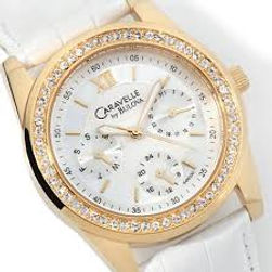 ladies caravelle watch, leather band, white leather, stone bezel, white face, boyfriend watch, ladies, watch,