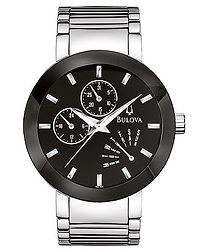 gents watch, black face, bulova, bulova watch, chronograph, silver tone,