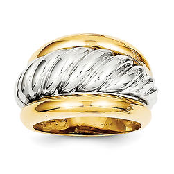 gold ring, shrimp, dome, two tone, 14 karat gold, 14K, white and yellow gold,