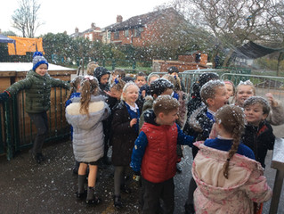 Pine Class' visit from Father Christmas and one of his reindeers!